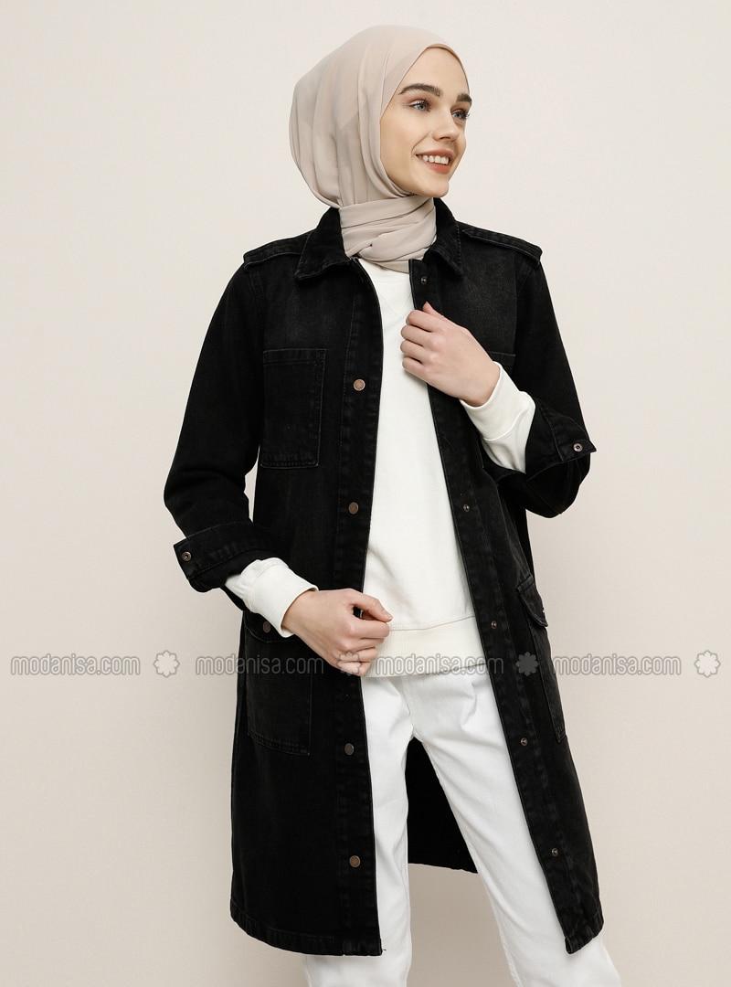 Black - Unlined - Point Collar - Denim - Cotton - Jacket