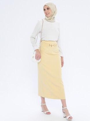 Yellow - Half Lined - Viscose - Skirt