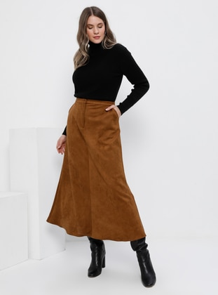 Camel - Unlined - Plus Size Skirt - Alia
