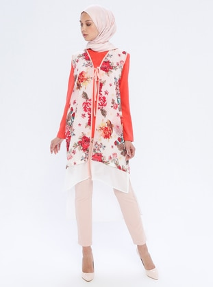 White - Multi - Coral - Floral - Unlined -  - Suit