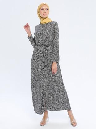 Black - Floral - Point Collar - Unlined - Viscose - Dress