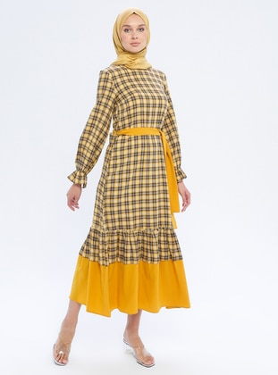 Mustard - Checkered - Crew neck - Unlined -  - Dress