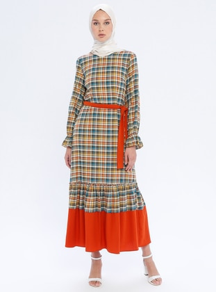 Orange - Checkered - Crew neck - Unlined -  - Dress