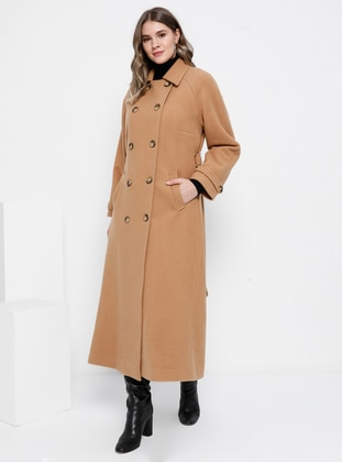 Camel - Fully Lined - Rayon - Plus Size Overcoat - Alia