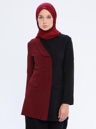 Maroon - Black - Shawl Collar - Jacket