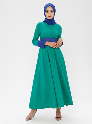 Blue - Green - Polo neck - Unlined -  - Dress