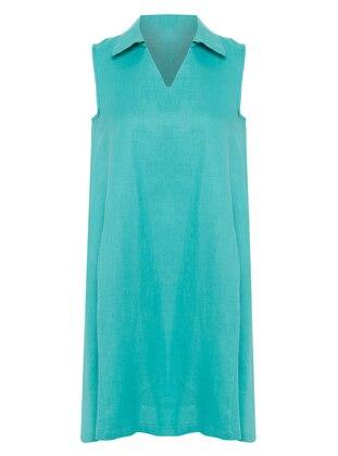 Mint - Point Collar - V neck Collar - Unlined - Dress