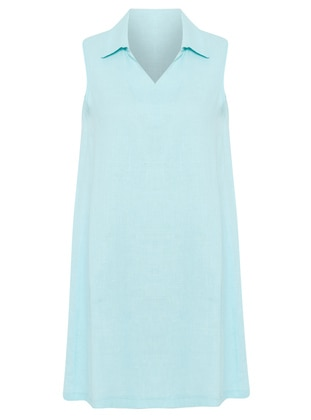 Turquoise - Point Collar - V neck Collar - Unlined - Dress