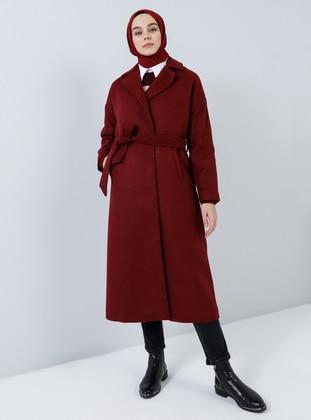 Maroon - Fully Lined - V neck Collar - Acrylic -  - Coat