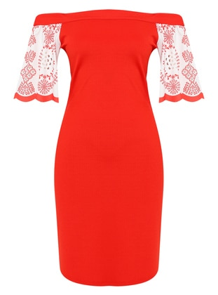 Spice - Red - Floral - Boat neck - Unlined - Dress