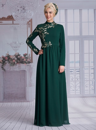 Emerald - Fully Lined - Polo neck - Muslim Evening Dress