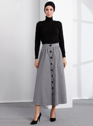 Gray - Checkered - Unlined -  - Skirt