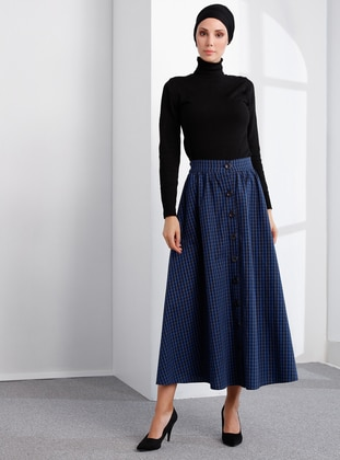 Navy Blue - Checkered - Unlined -  - Skirt