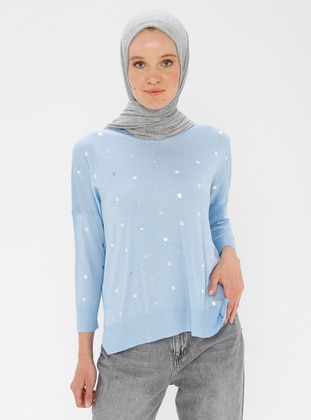 Blue - Crew neck - Acrylic -  - Viscose - Jumper