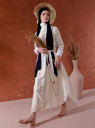 Beige - Stripe - Crew neck - Unlined - Linen - Dress