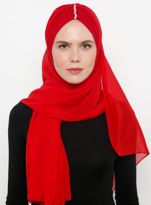 Red - Plain - Litho - Shawl