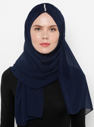 Navy Blue - Plain - Litho - Shawl