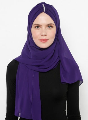 Purple - Plain - Litho - Shawl
