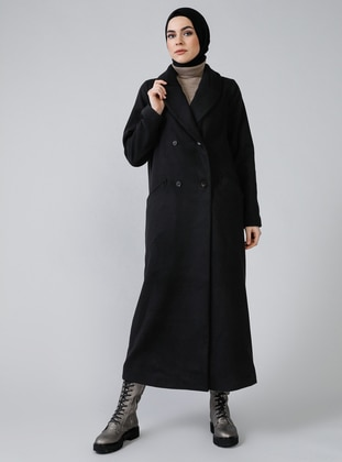 Black - Fully Lined - Shawl Collar - Acrylic - Coat