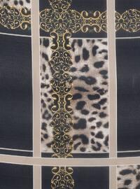 Navy Blue - Mink - Printed - Leopard - Scarf