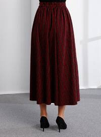 Red - Black - Checkered - Unlined -  - Skirt