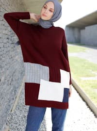 Maroon - Geometric - Crew neck -  -  - Tunic