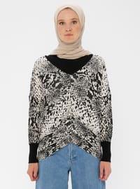Beige - Multi - V neck Collar - Acrylic -  - Jumper