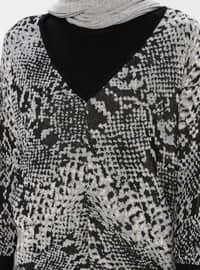Gray - Multi - V neck Collar - Acrylic -  - Jumper