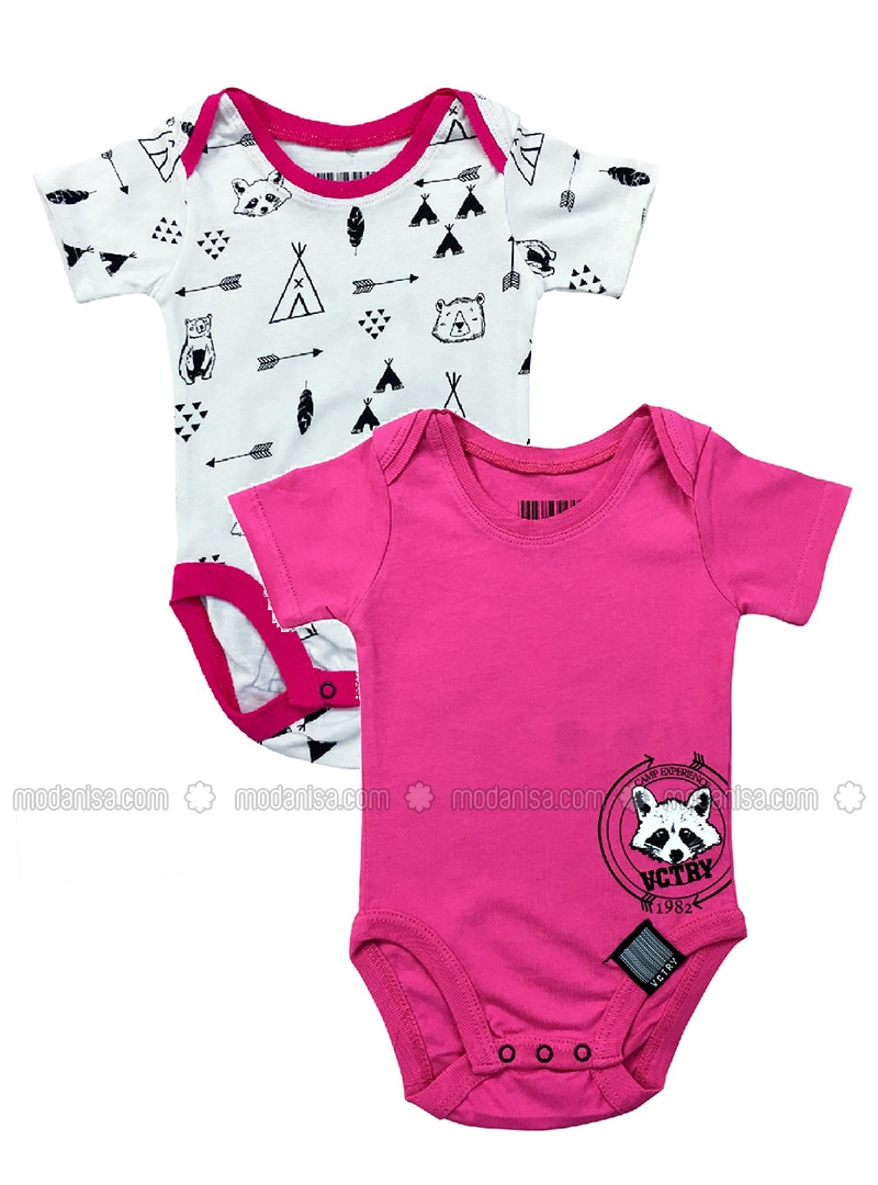 Multi - Crew neck -  - Unlined - Pink - Baby Body