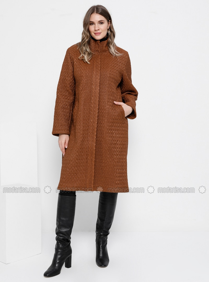 Tan - Fully Lined - Plus Size Overcoat