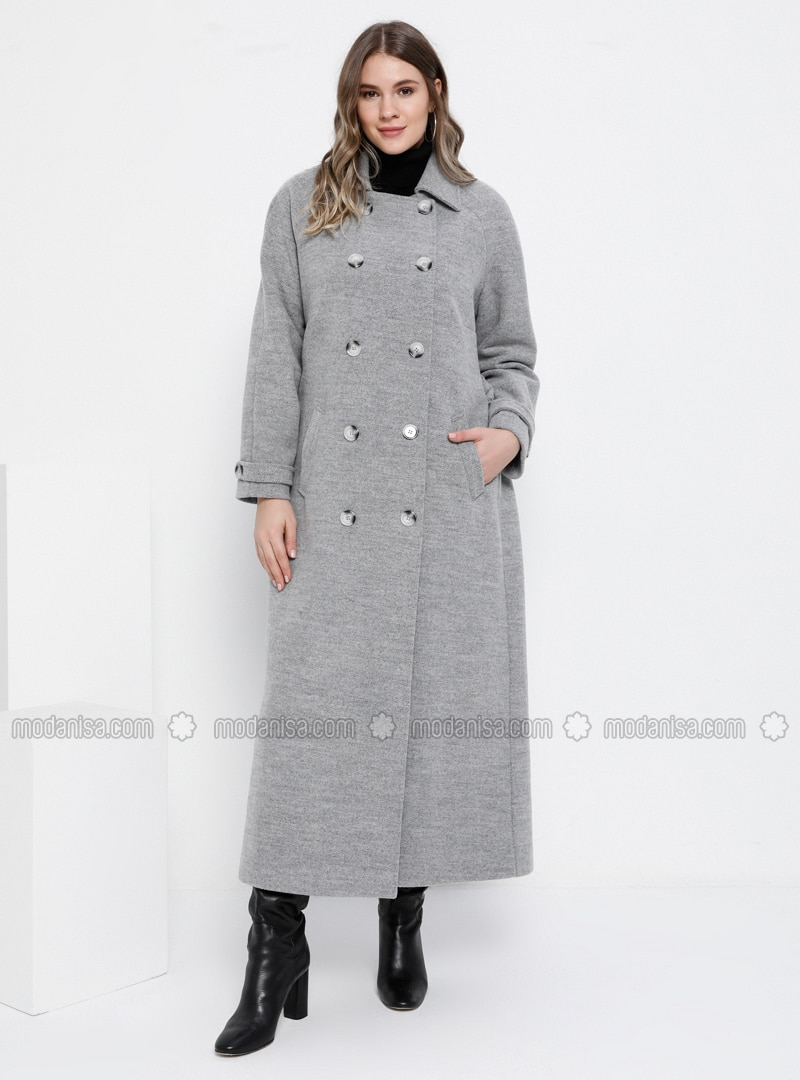 Gray - Fully Lined - Rayon - Plus Size Overcoat