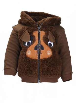 Crew neck -  - Brown - Baby Cardigan