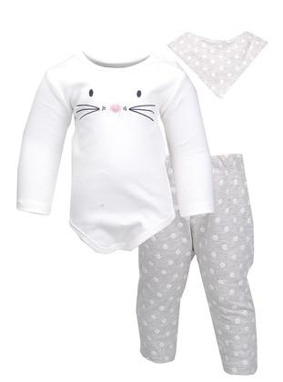 Polka Dot - Crew neck -  - Ecru - Gray - Baby Suit