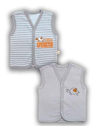 Stripe - V neck Collar -  - Gray - Baby Vest
