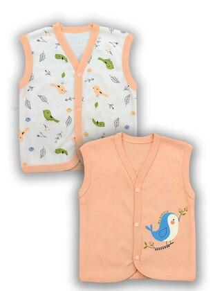 Multi - V neck Collar -  - Pink - Baby Vest