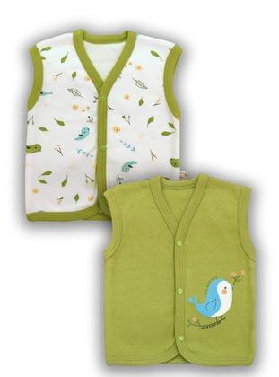 Multi - V neck Collar -  - Green - Baby Vest