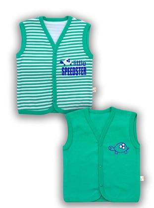 Stripe - V neck Collar -  - Green - Baby Vest