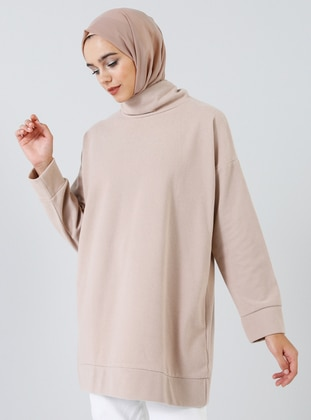 Beige - Polo neck -  - Tunic
