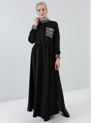 Black - Button Collar - Unlined - Dress