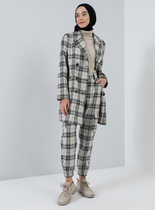 Ecru - Black - Plaid - Acrylic -  - Pants