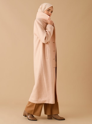 Beige - Fully Lined - Shawl Collar - Wool Blend - Coat