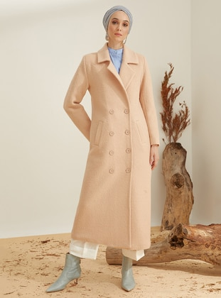 Camel - Fully Lined - Shawl Collar - Point Collar - Wool Blend - Coat