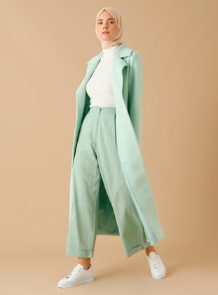 Mint - Fully Lined - Shawl Collar - Point Collar - Wool Blend - Coat