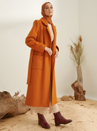 Cinnamon - Fully Lined - Shawl Collar - Wool Blend - Coat