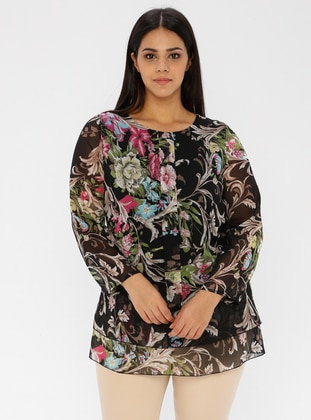 Multi - Floral - Crew neck - Plus Size Tunic