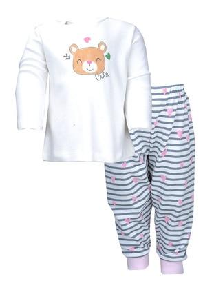 Multi - Crew neck -  - Ecru - Girls` Pyjamas