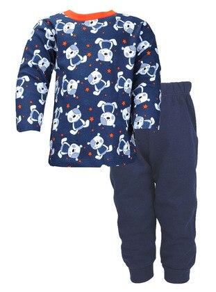 Multi - Crew neck -  - Navy Blue - Boys` Pyjamas