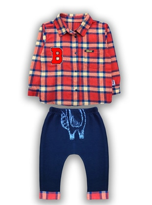 Checkered - Crew neck -  - Red - Boys` Suit