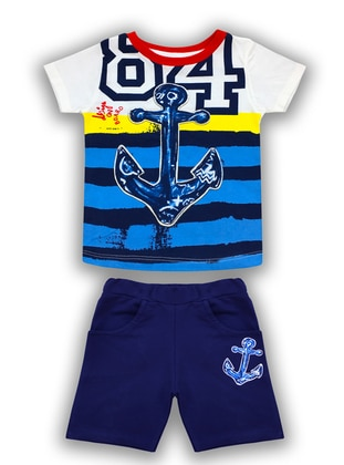 Stripe - Crew neck -  - Navy Blue - Boys` Suit