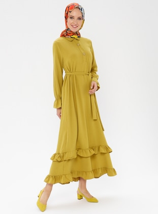 Mustard - Point Collar - Unlined -  - Dress